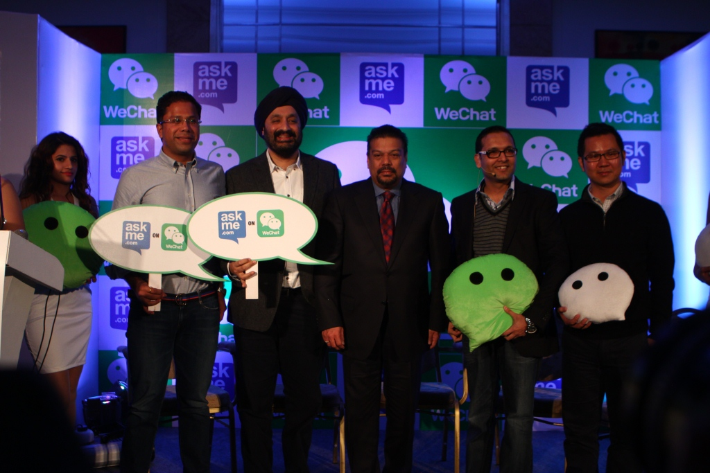 Nilay Arora and Jack Lau of WeChat Launch AskMe on WeChat with Manav and Jaspreet Bindra of Getit Infomedia