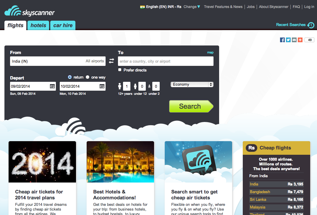 Skyscanner Web Interface