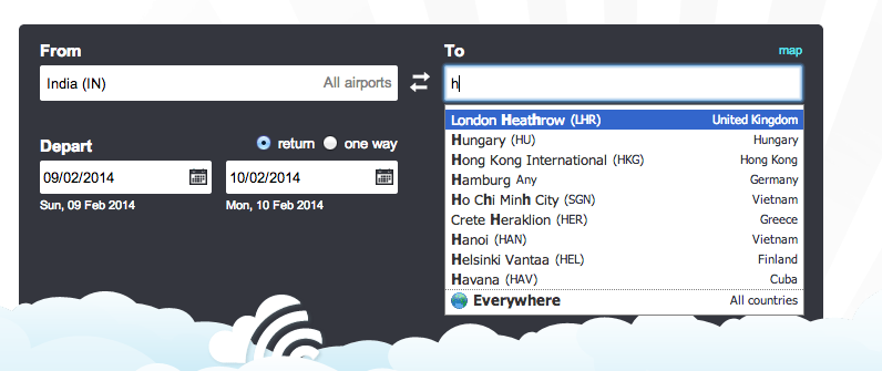 Smart search with skyscanner