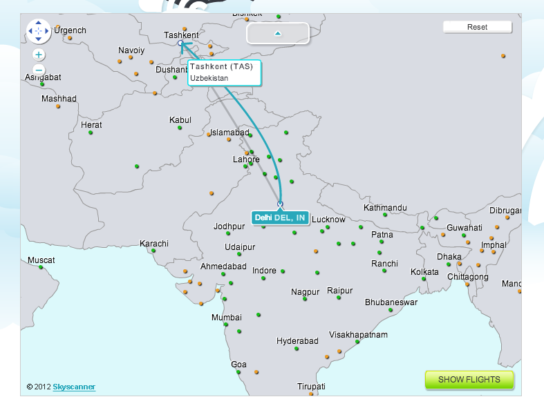 Using maps skyscanner