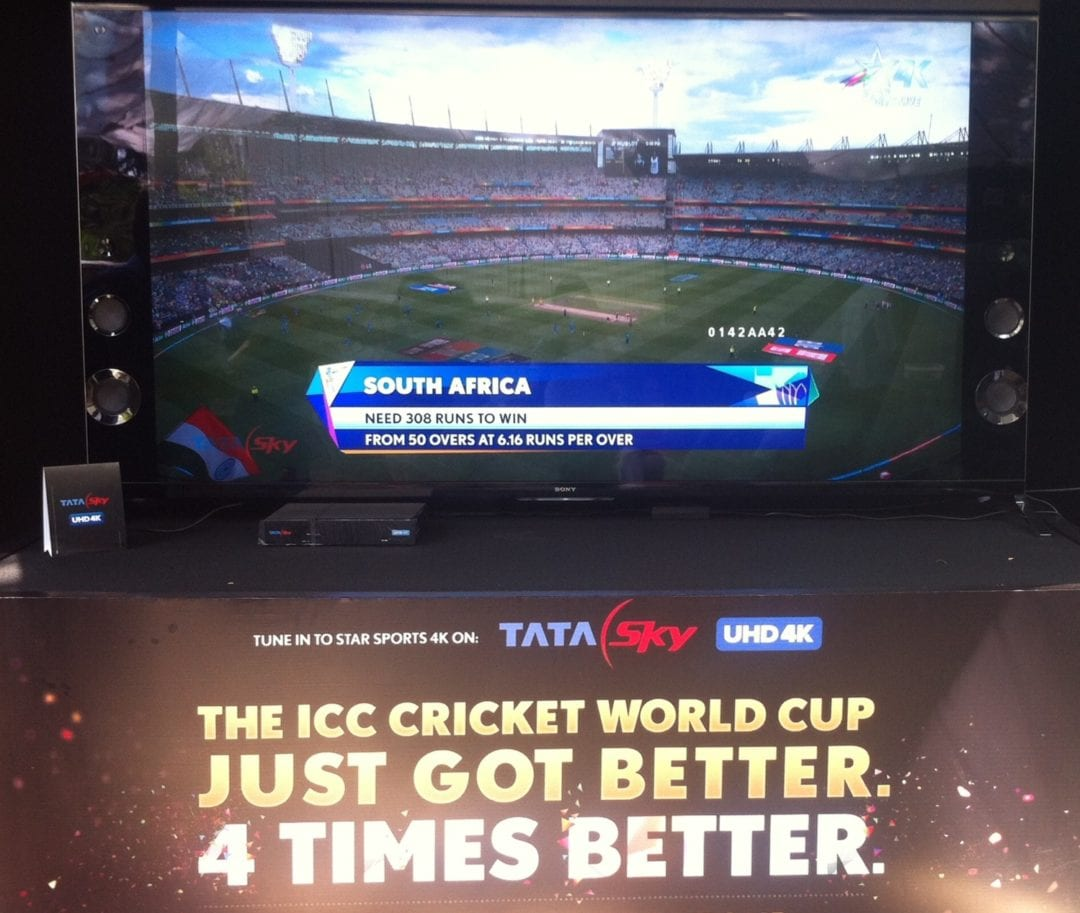 1st ever 4k broadcast with Tata Sky 4k of ICC Cricket World Cup Live on Star Sports