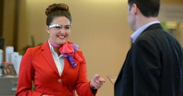 Virgin-Atlantic-flight attendant wearing google glass