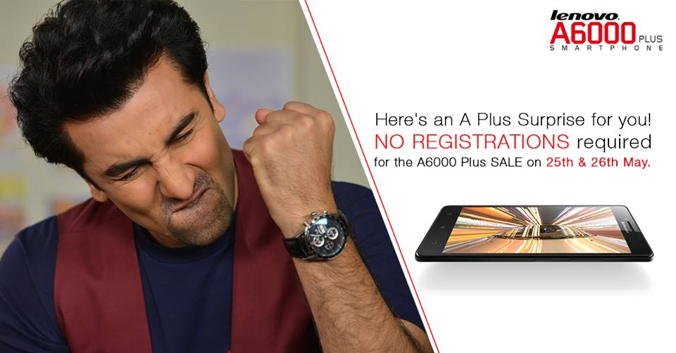Lenovo A6000plus to be available on Open sale on 25th and 26th May, 2015 on Flipkart