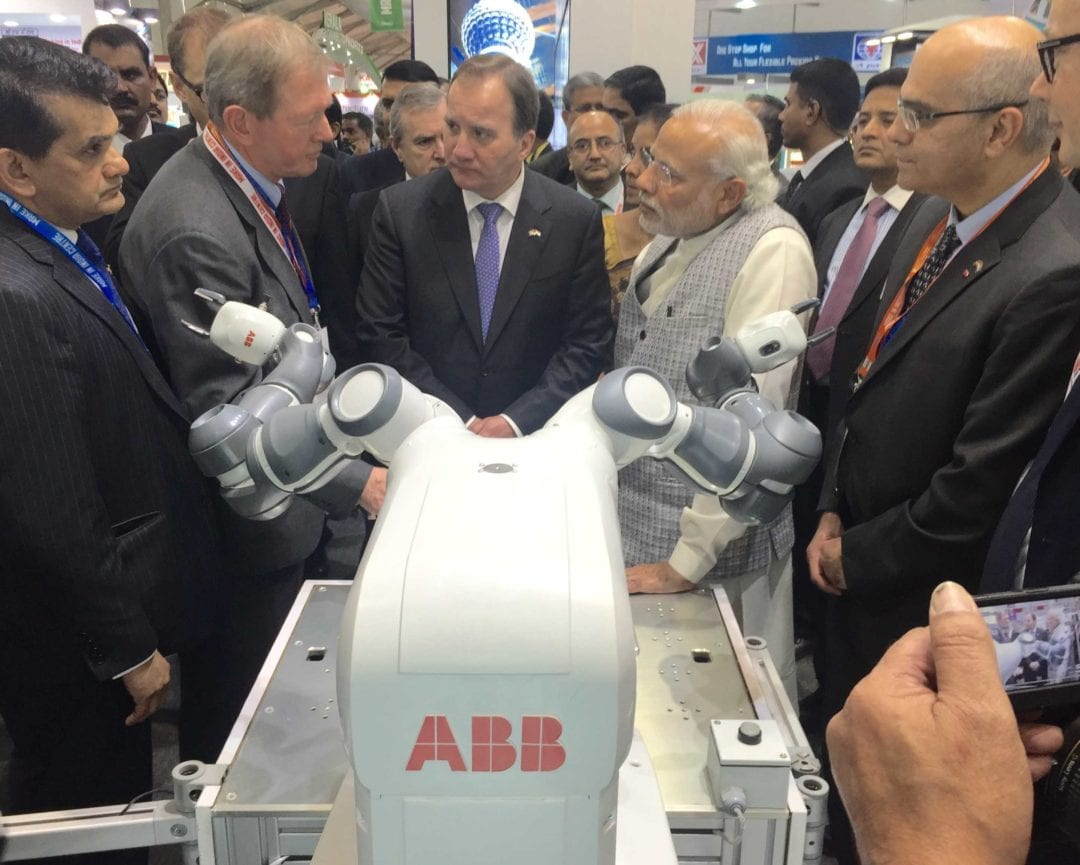 PM Modi and the Swedish PM visit the ABB stall