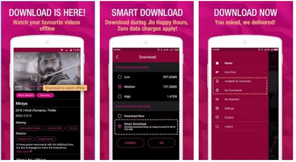 Jio Cinema App Smart Download feature