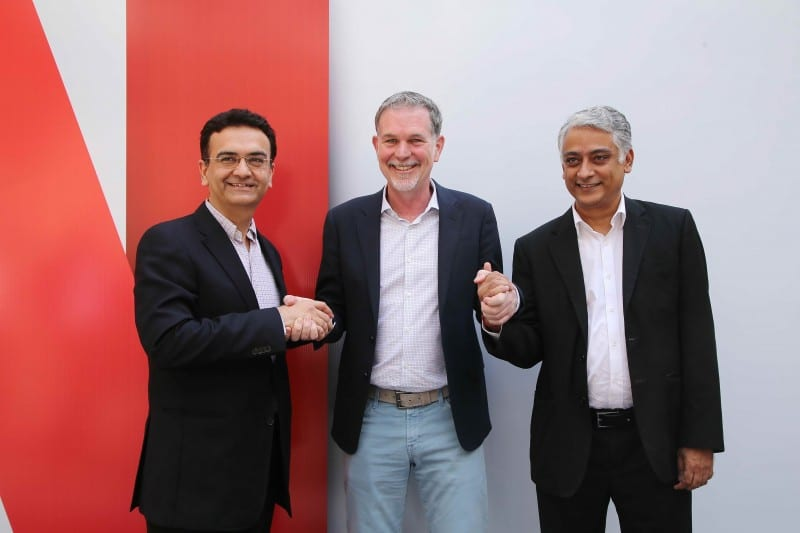 (L-R) Sandeep Kataria, Director Commercial, Vodafone India _ Reed Hastings, Co-founder and CEO, Netflix_ Himanshu Patil, COO, Videocon d2h Limited at Netflix's multi-platform