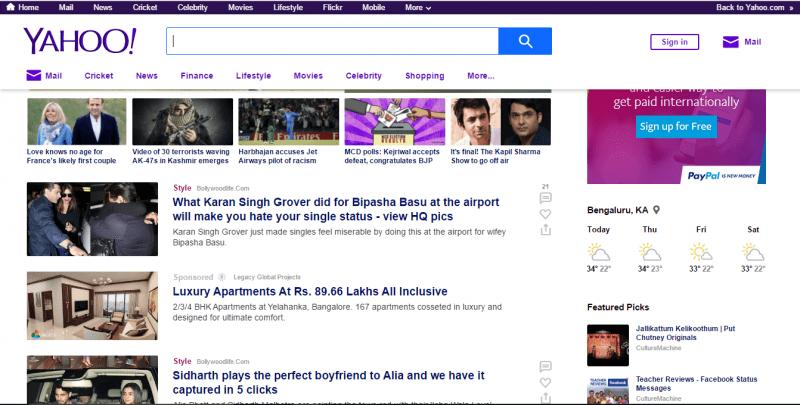 Yahoo India Homepage Gets a Fresh Look - The Unbiased Blog