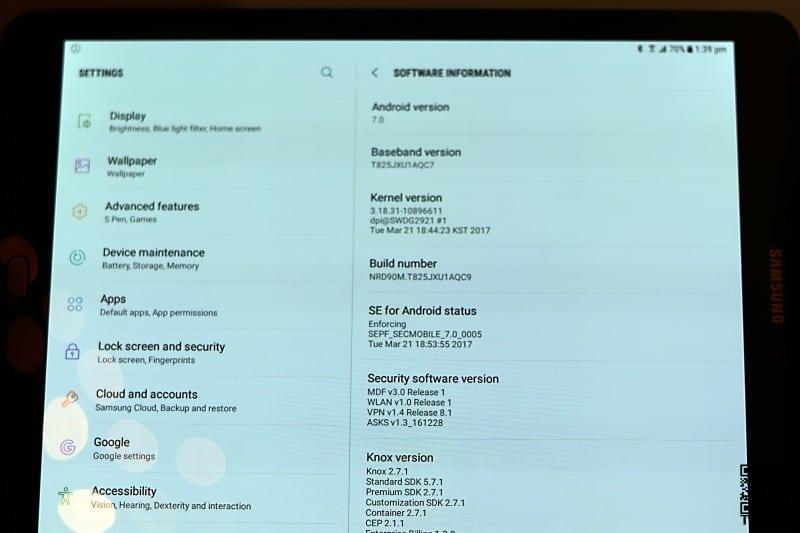 Samsung Galaxy Tab S3 software