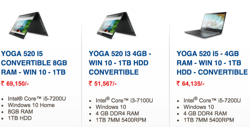 Lenovo Yoga 520 variants