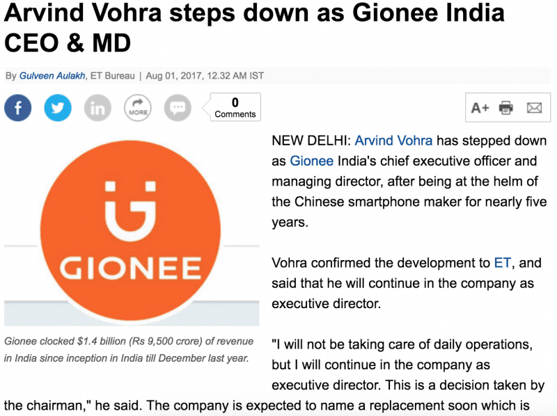 Arvind Vohra steps down as Gionee India CEO & MD