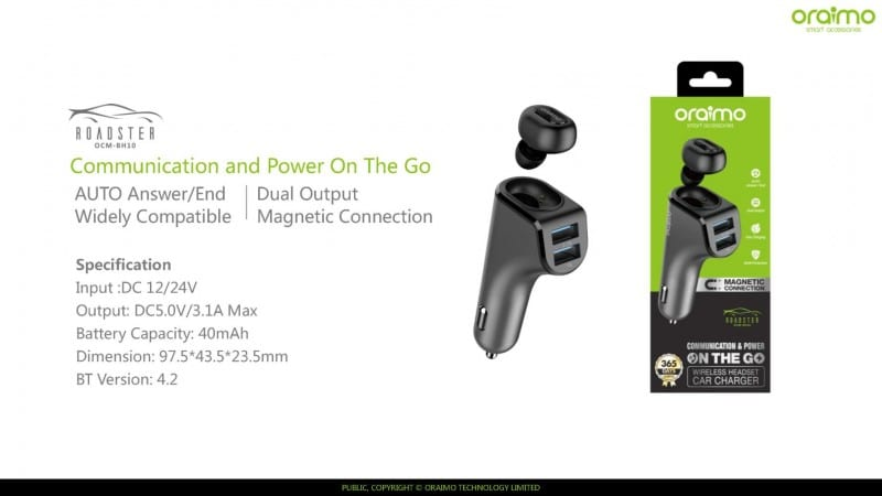 0db2ef10b3c Oraimo Roadster OCM-BH10 2-in-1 wireless headset plus Car Charger launched  for INR 1,199