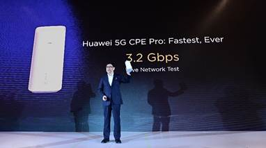 The Huawei 5G CPE Pro achieves a high speed of 3.2 Gbps in live network tests