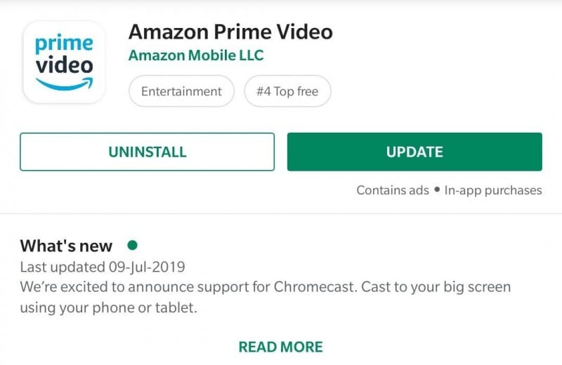 Chromecast on Prime Video