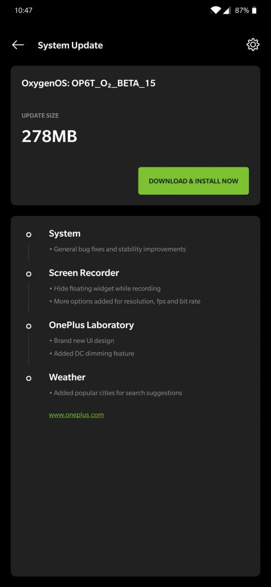 OnePlus 6T Open Beta 15