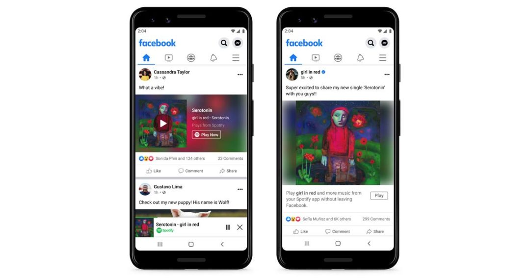 Spotify can now be used within the Facebook App